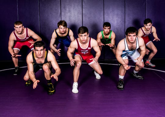 The areas best wrestlers got together to talk about their wrestling careers and what it was like to get 100 wins. (L-R) Zane Trace's Austin Carroll, Paint Valley's Adrian Salomone, Unioto's Ashten Moody, Zane Trace's Jordan Hoselton, Huntington's Cody Thomas, Adena's Dalton Metzger, and Zane Trace's Alex Brown.