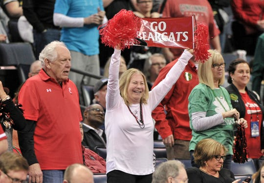 Cincinnati Bearcats fans during the second half against the Houston Cougars in the American Athletic Conference Tournament at FedExForum.