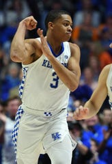 Kentucky Wildcats guard Keldon Johnson (3) celebrates after a basket during the second half against the Tennessee Volunteers in the SEC conference tournament at Bridgestone Arena.