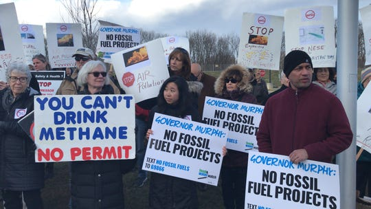 A protest against the Northeast Supply Enhancement of the 500-mile Transco pipeline preceded a state Department of Environmental Protection hearing about the project on March 18 in East Brunswick.