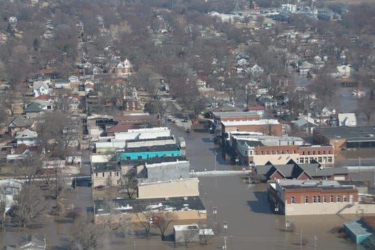 The majority of Hamburg, Iowa is covered in flood waters after an unprecedented unregulated water flow from the Platte and Elkhorn Rivers. Water levels raised until many of the local levees were overtopped or breached.