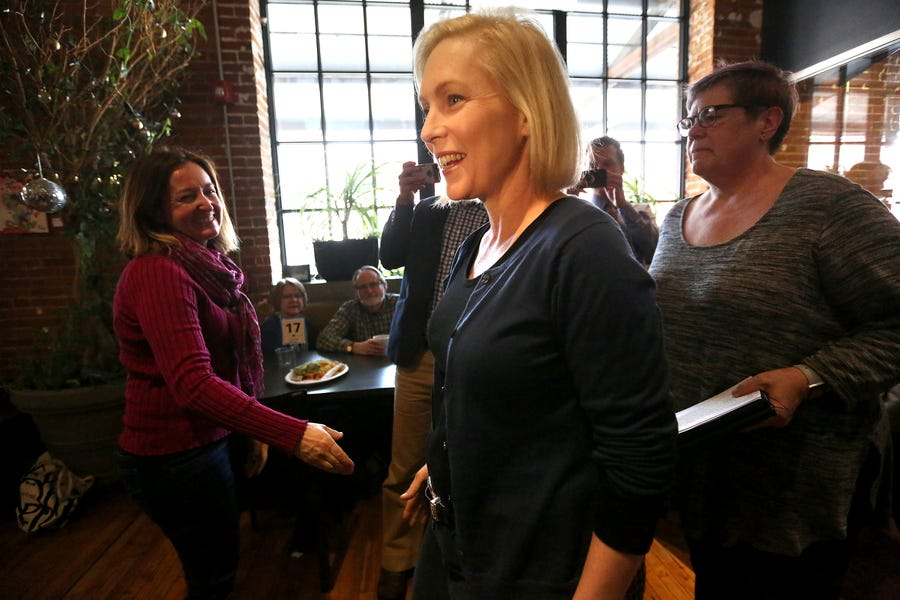 Democratic presidential candidate Sen. Kirsten Gillibrand, D-N.Y., speaks during a meet-and-greet event at Inspire Cafe in Dubuque, Iowa, on Tuesday, March 19, 2019. (Jessica Reilly/Telegraph Herald via AP)