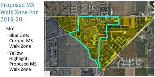 This map shows the planned expansion of Bondurant-Farrar's walk zone for students in grades seven and eight.