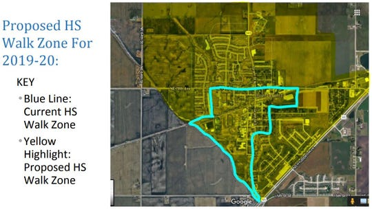 This map shows the proposed change in Bondurant-Farrar's walk zone for students in high school grades.