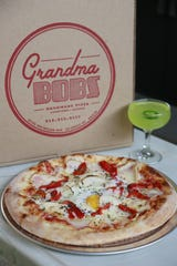 The Potato + Pepper pizza ($14) from Grandma Bob's includes sliced gold potatoes, roasted red pepper, rosemary, thyme, Pecorino-Romano cheese and a whole egg. The new Corktown pizzeria from the Detroit Optimist Society hospitality group officially debuts March 27.