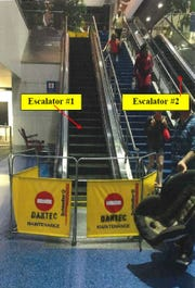 Thomas Quigley, 71, of Windsor, Ontario, slipped and broke his neck on this escalator at Detroit Metro Airport on Sept. 4, 2018. He died from the injuries.