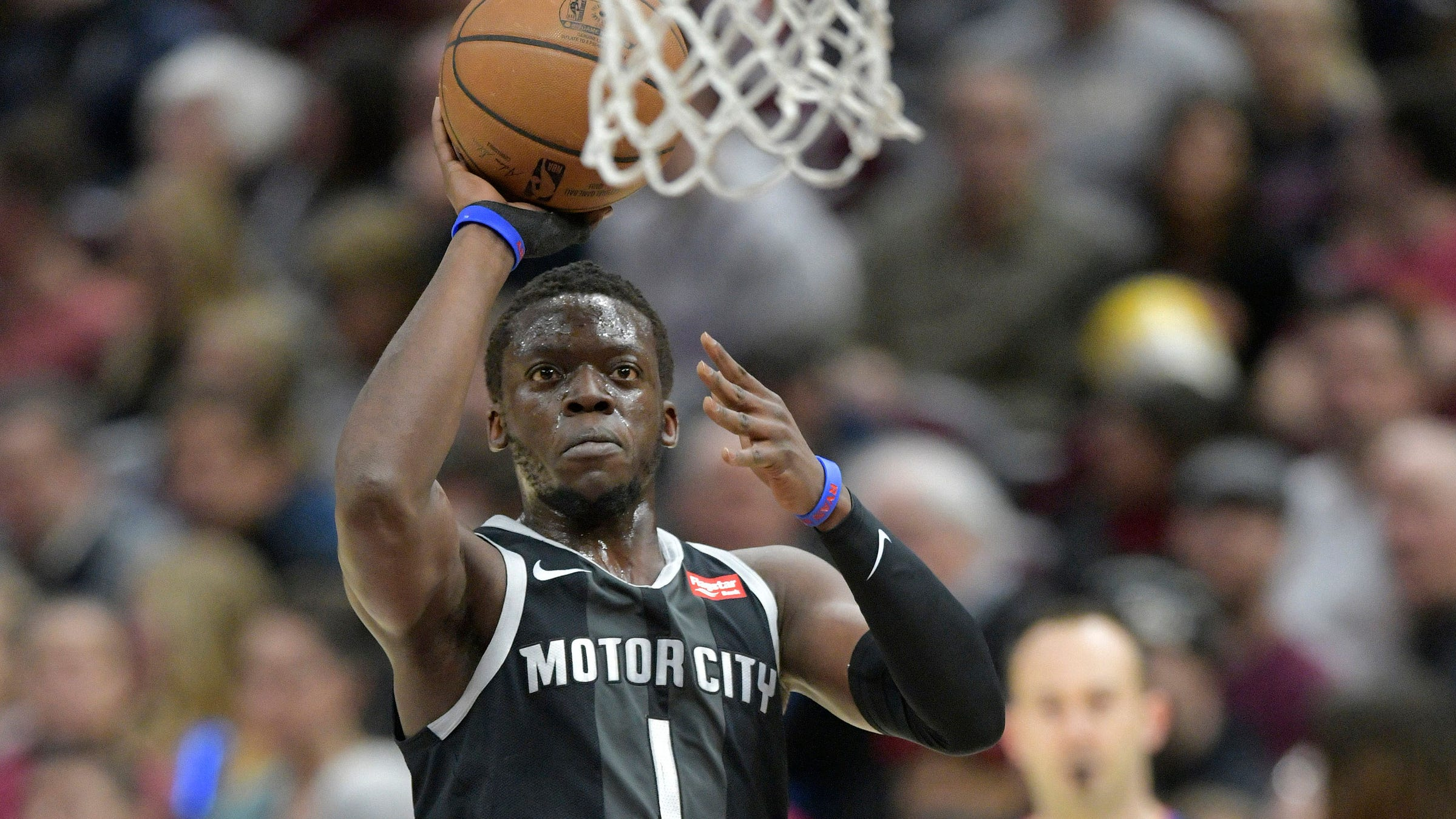Detroit Pistons guard Reggie Jackson drives to the basket in the first quarter against the Cleveland Cavaliers at Quicken Loans Arena, March 18, 2019.