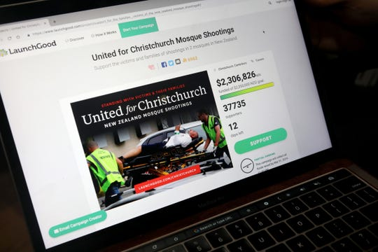 LaunchGood.com founder and CEO Chris Blauvelt shows the comapny's donation page with funds that will go to the victims of the Christchurch, New Zealand that happened late last week.