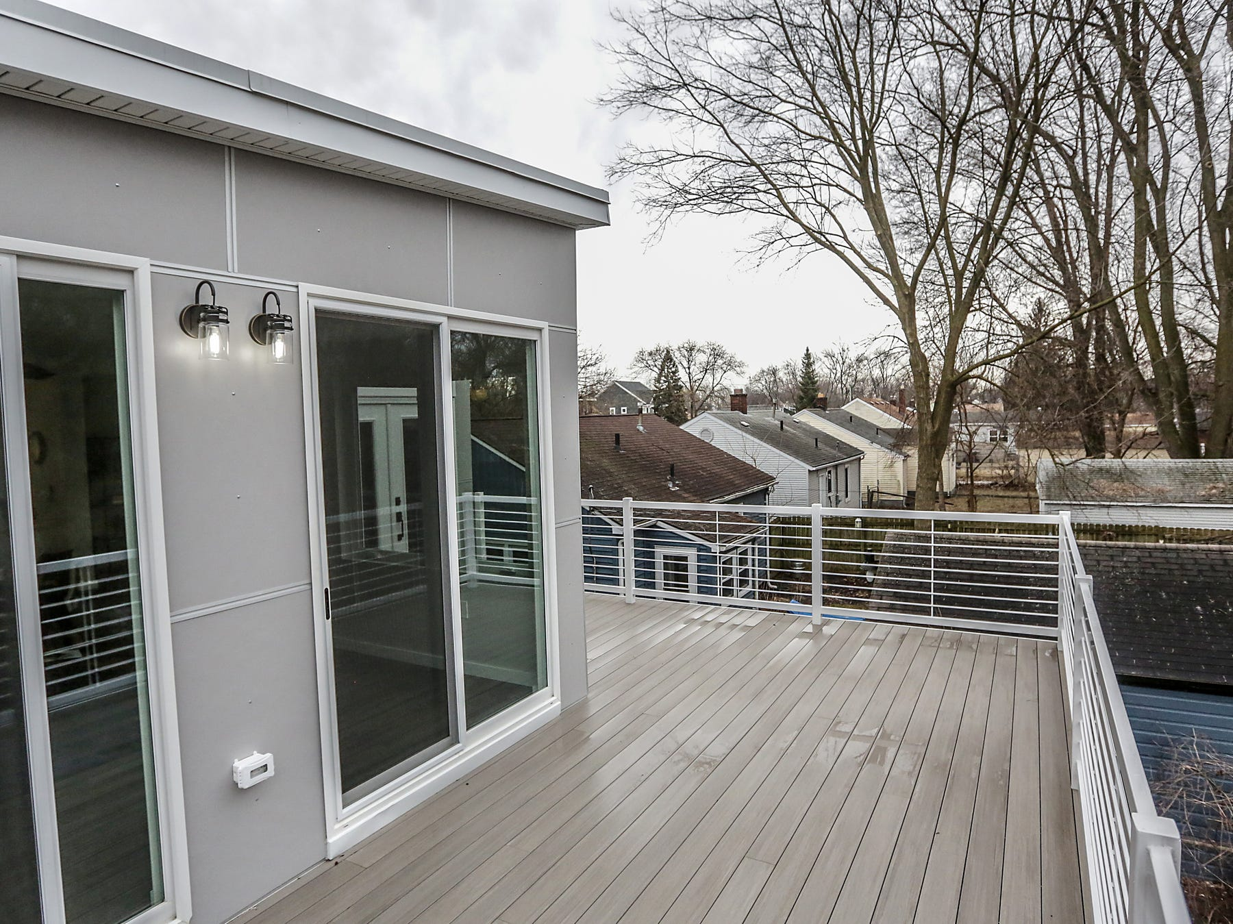 On the second story there is a Trex balcony that is 320 square feet overlooking the neighborhood in Ferndale, Mich. photographed on Thursday, March 14, 2019.