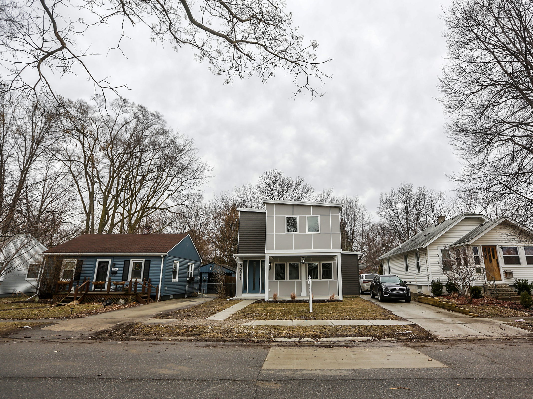 A new construction made from 5 and half shipping containers is for sale for $450,000 in Ferndale, Mich. photographed on Thursday, March 14, 2019. The home was built on an empty lot.