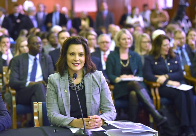 MI Gov. Gretchen Whitmer as she presents her 'fiscal year 20 budget proposal,' called, 'The Road To Opportunity,' to lawmakers during a joint meeting of the House and Senate appropriations committees in the Senate Hearing Room on the ground floor of the Boji Tower in Lansing, Tuesday morning, March 5, 2019.