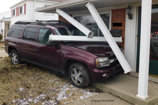 A 2006 Maroon Chevy SUV was knocked into a home on Frazho Road and Bellair Street in Roseville.