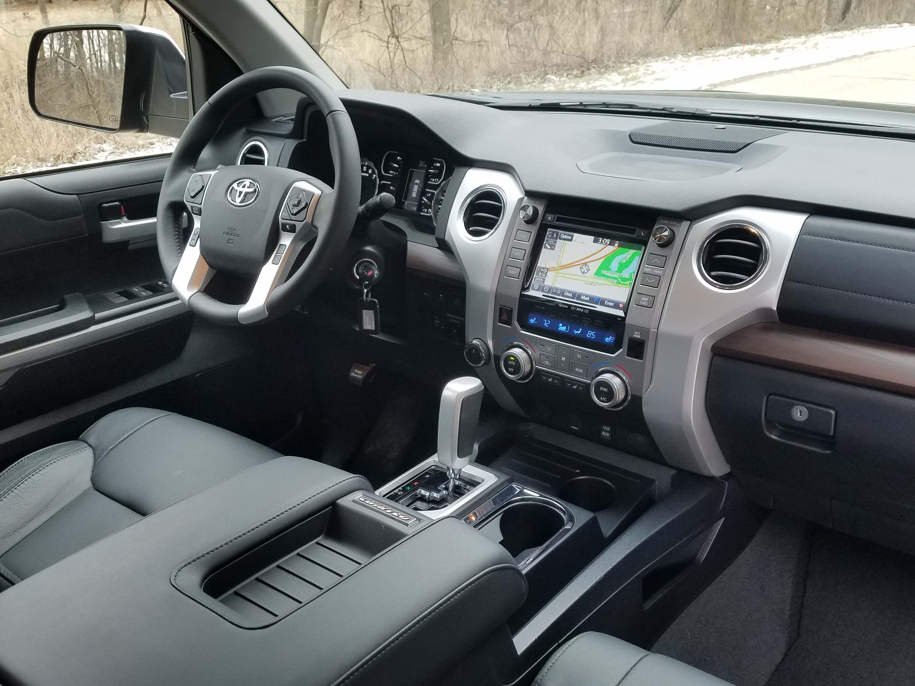 The 2019 Toyota Tundra cabin is a comfy place to be, though it lacks the refinement of comparable Detroit-brand trucks.