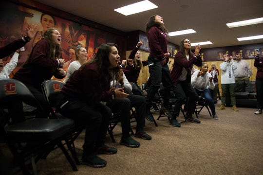 The Central Michigan players celebrate their NCAA Tournament bid Monday night.