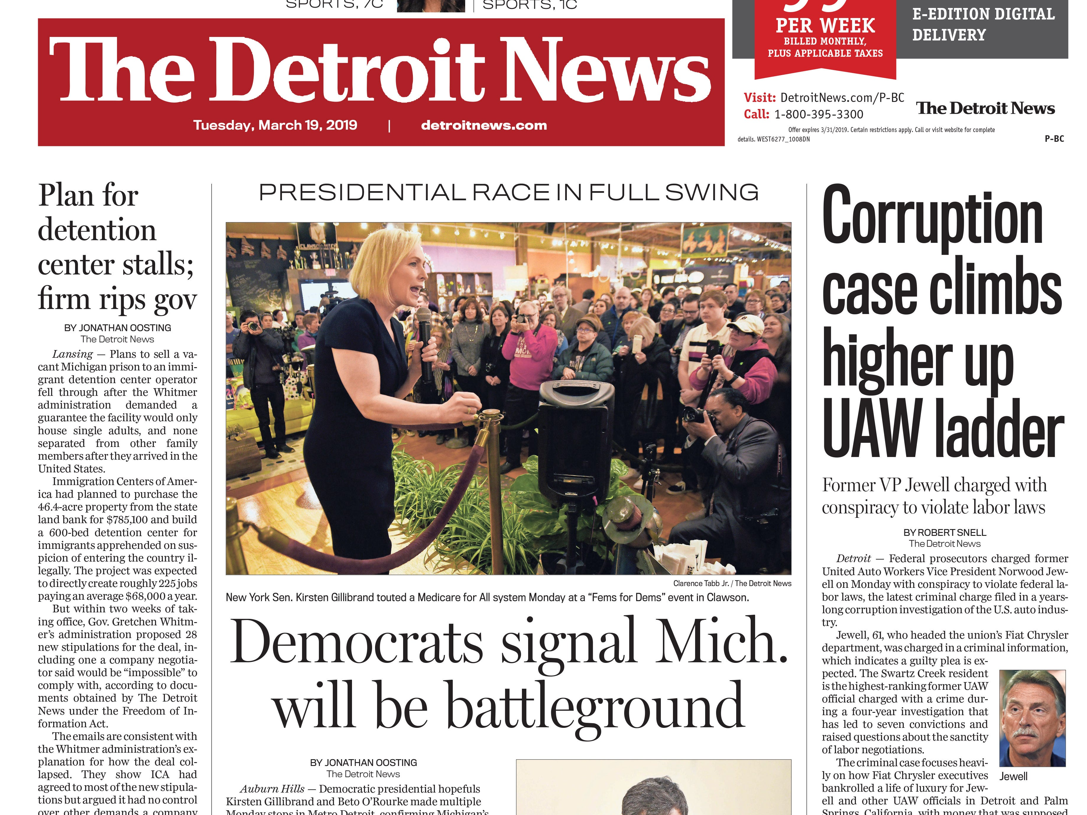 The front page of the Detroit News on Tuesday, March 19, 2019.