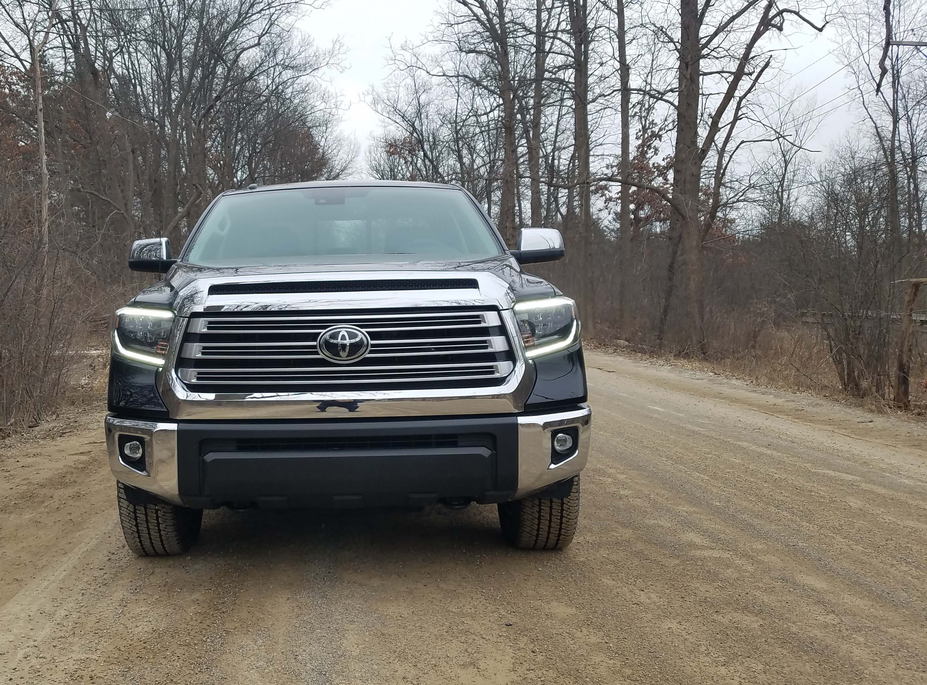"The 2019 Toyota Tundra Limited comes with a handsome, chromed grille that say ""git outta the way"" in the rear-view mirror."