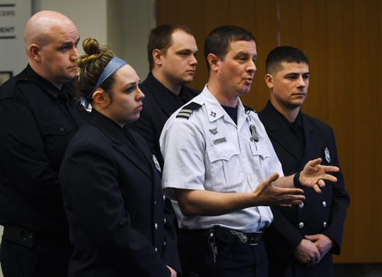 Captain James Gotten talks about the February fire that he, EMT Christopher Mateja, EMT Heather Damman, paramedic Austin Tederington and EMT Thomas Miller received recognition for Tuesday. They were able to get the pulse back on a 9-year-old victim.