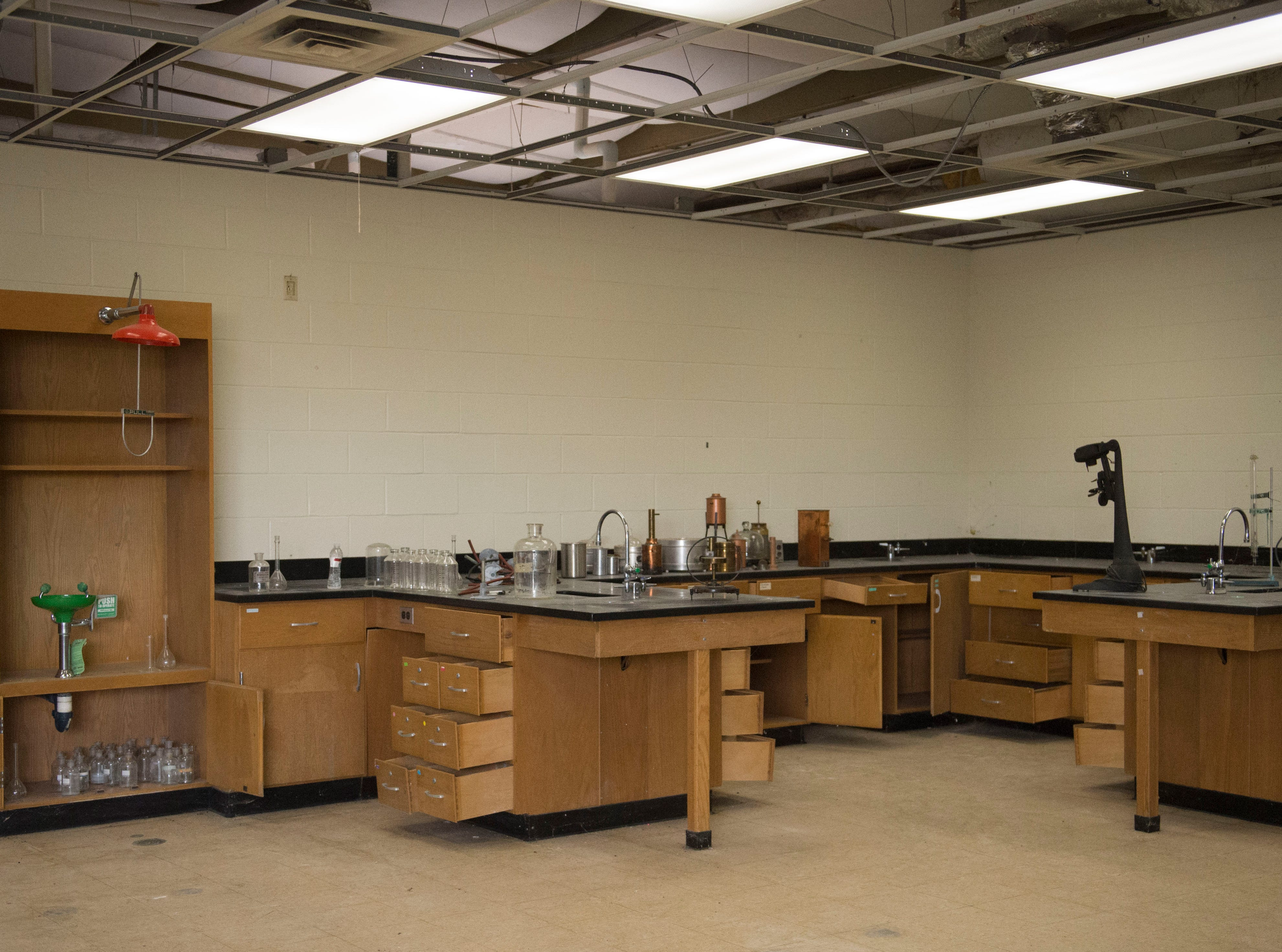 The science classroom inside New Harmony's empty school building which closed in 2012 due to small enrollment. The Town Council voted 5-0 Tuesday, March 19, 2019 to sell the building to Erik Arneberg for $125,000.