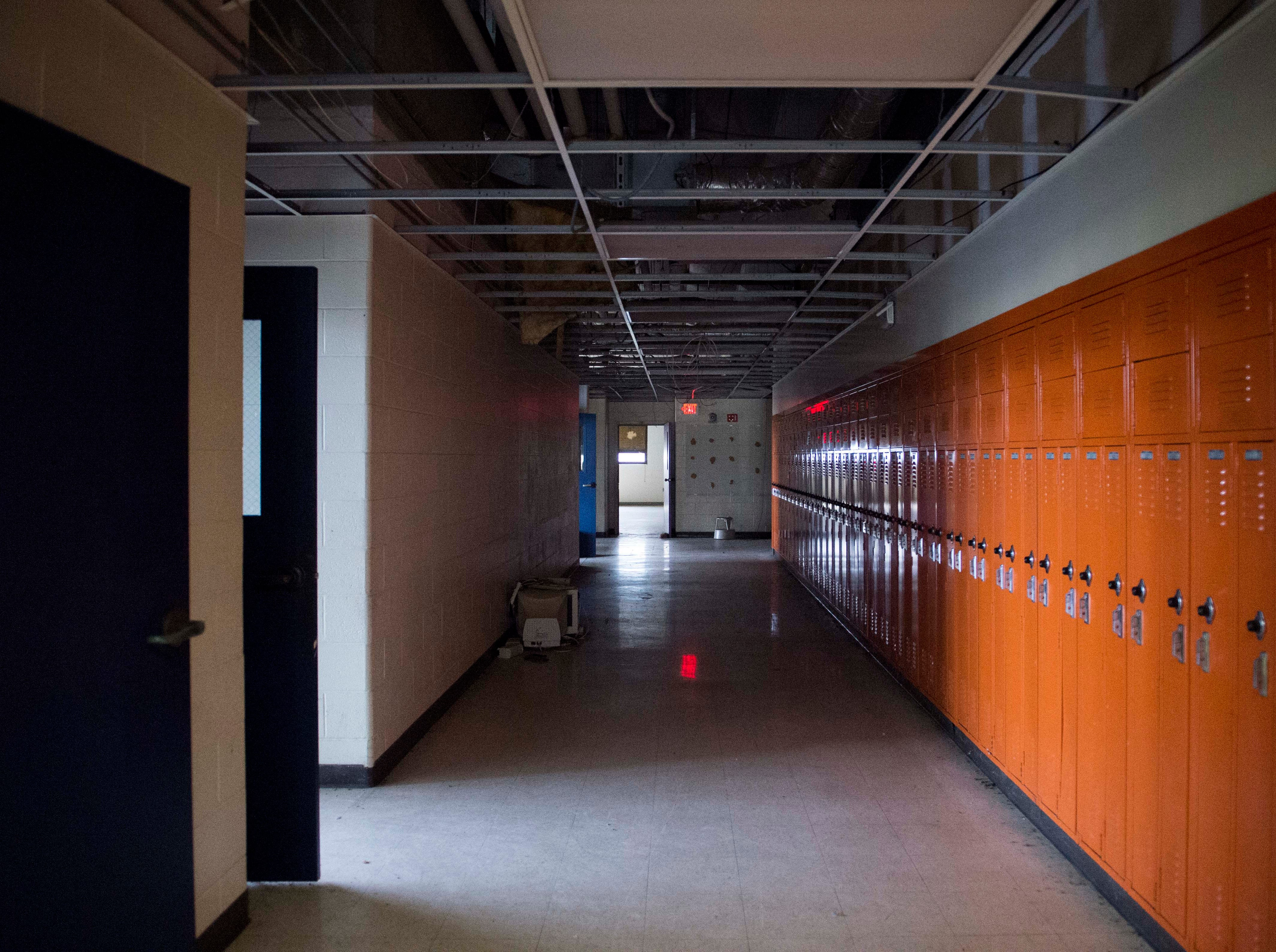 An empty hallway inside New Harmony's empty school building which closed in 2012 due to small enrollment. The Town Council voted 5-0 Tuesday, March 19, 2019 to sell the building to Erik Arneberg for $125,000.
