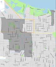 The area shaded in dark gray will have bulky waste curbside pickup through March 29.