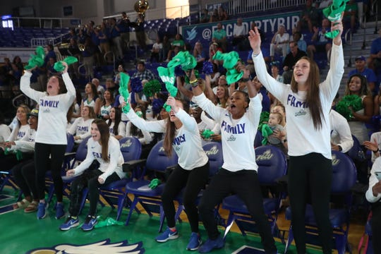 Members of the Gulf Coast University Women's basketball team will play Miami in the first round of the NCAA tournament on Friday. They held a watch party at Alico Arena on the FGCU campus even though they already knew who they were playing due to an error by ESPN.