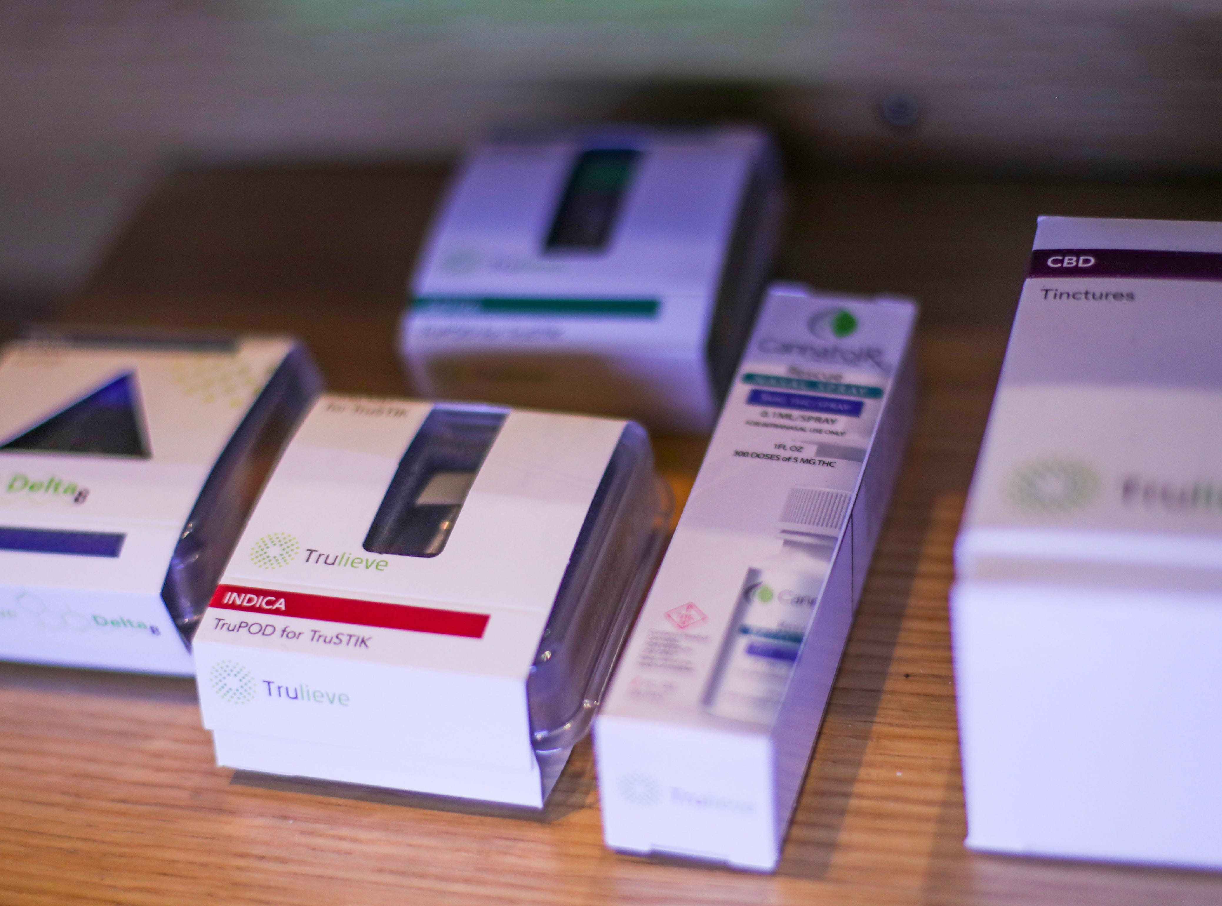 Some of the display products at Trulieve in Venice. Its products work to alleviate seizures, severe and persistent muscle spasms, pain, nausea, loss of appetite, and other symptoms associated with serious medical conditions such as cancer. Low-THC/CBD products are available for patients who need non-euphoric care.