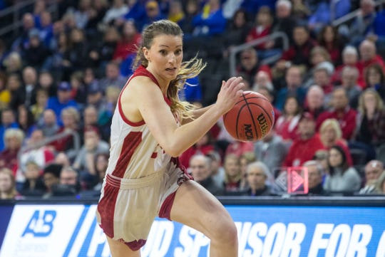 Ciara Duffy (24) leads South Dakota, averaging 14.8 points, 4.8 rebounds and 3 assists per game and shoots 41 percent from 3-point range.