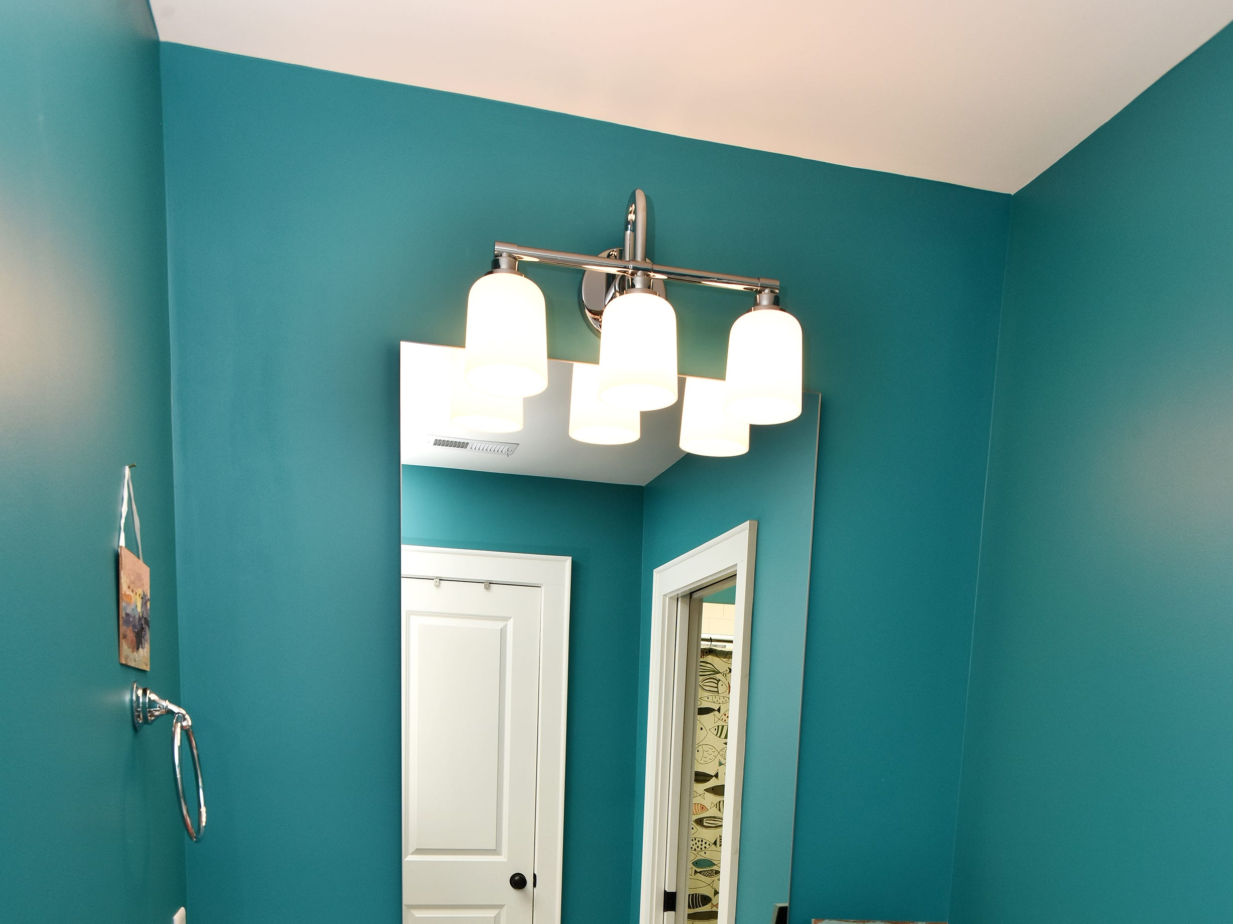 A remodeled guest bathroom.