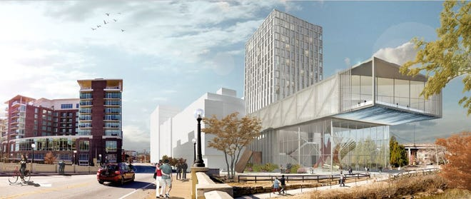 A rendering of the proposed downtown convention center on the Reedy River as of March 19, 2019.