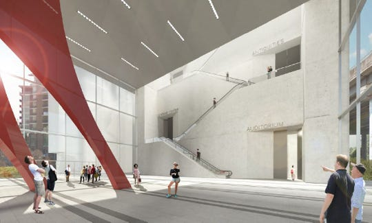 The interior of an arts and convention center that would be built along the Reedy River downtown.