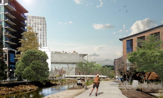 An artists rendering of the view of the proposed downtown convention center on the Reedy River.