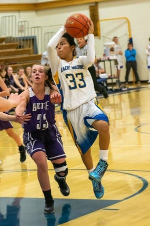Gardiner Bruin Sophia Darr (33) drives into the lane in a game against the Butte subvarsity this past season.