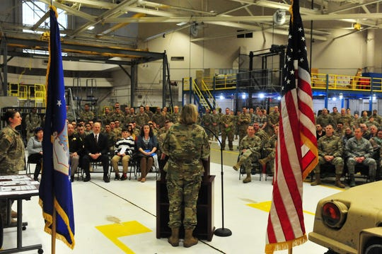 Commander of the 341st Missle Wing, Colonel Jennifer Reeves honors 14 airmen on Tuesday morning at Malmstrom Air Force Base for their actions in civilian rescues this winter, including the response to a rollover crash, the air rescue of Judge John Parker, and assisting a stranded motorist on a remote backroad.