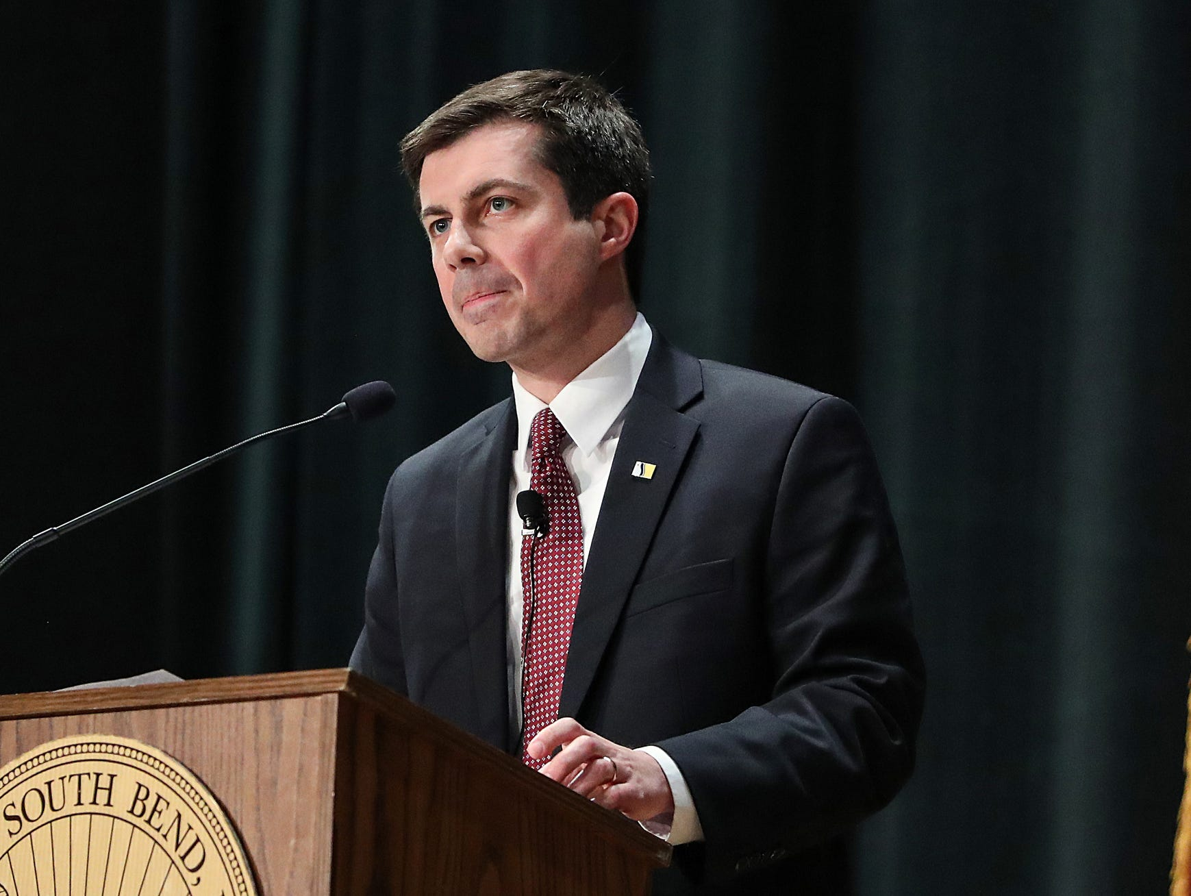 South Bend Mayor Pete Buttigieg delivers his final State of the City address in South Bend, Ind. on Tuesday, March 12, 2019. Two notable initiatives led by Buttgieg include the demolition or repair of 1,000 vacant, abandoned or dilapidated houses, and an infrastructure project that transformed South Bend's once struggling downtown into a more vibrant, inviting place.