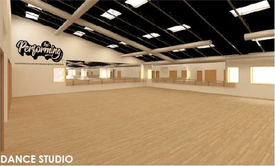 A dance studio, as shown in this rendering, will be part of the first phase of construction at the east-side building Indiana Black Expo has purchased.