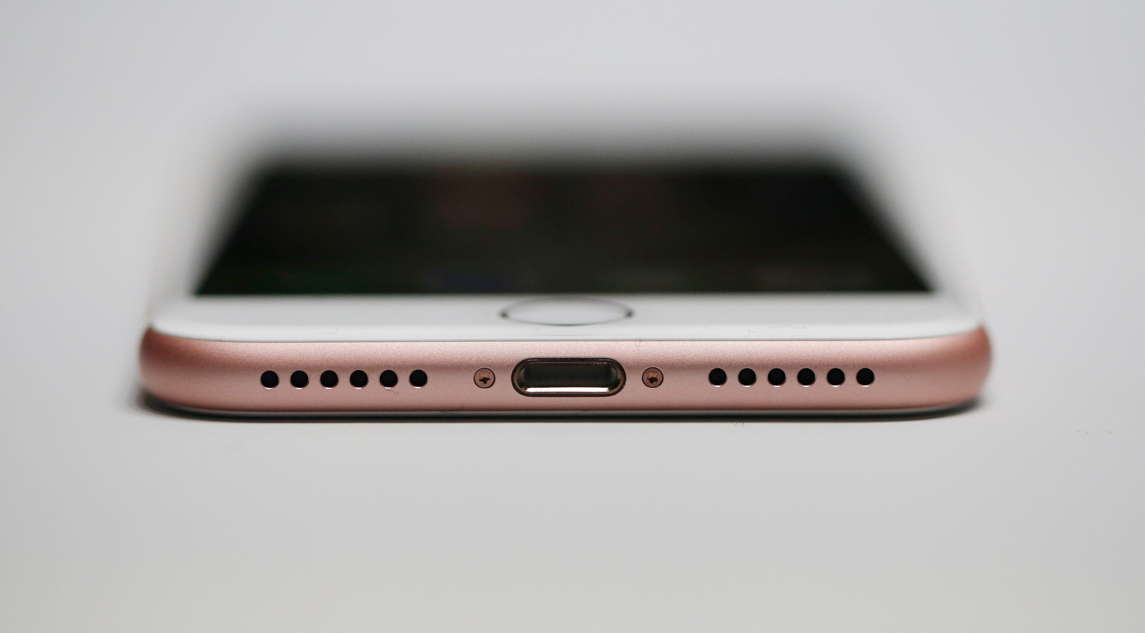 An iPhone 7 is seen on Sept. 7, 2016, in San Francisco, California.