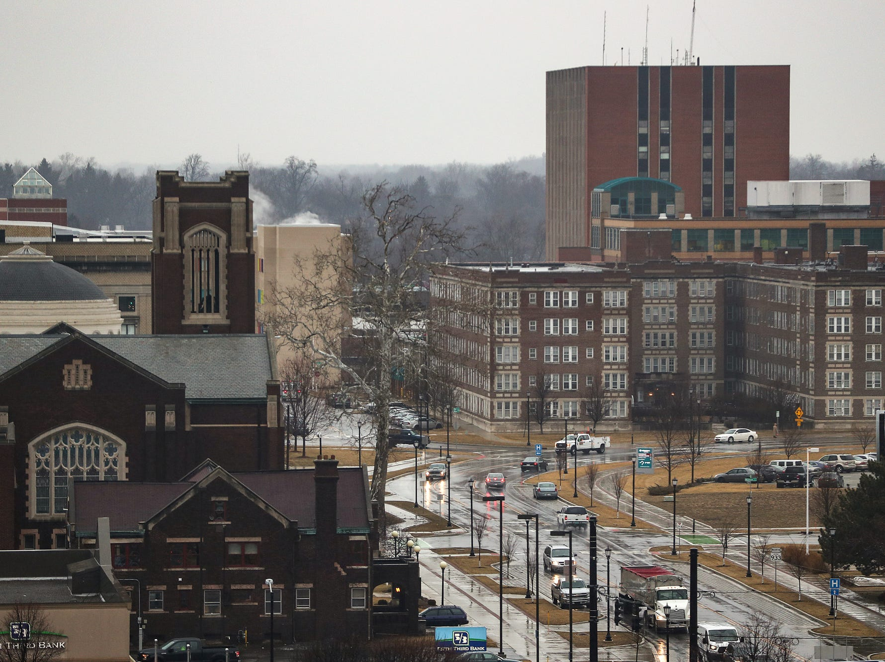 A north-facing view of South Bend, Ind., as seen from Liberty Tower on Wednesday, March 13, 2019.