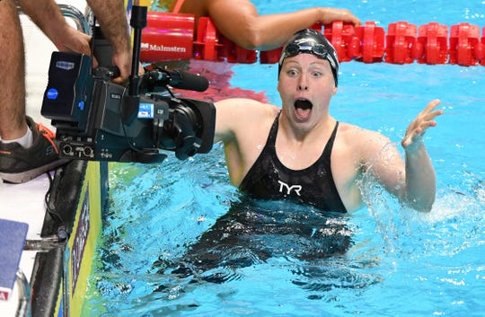 Lilly King of the USA celebrates her world record and victory in the women's 100m breaststroke final at the FINA World Championships 2017 in Budapest, Hungary, 25 July 2017.