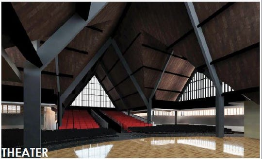 After the first phase of construction, Indiana Black Expo would like to transform the existing chapel into a performing arts center with a stage, as shown in this rendering.