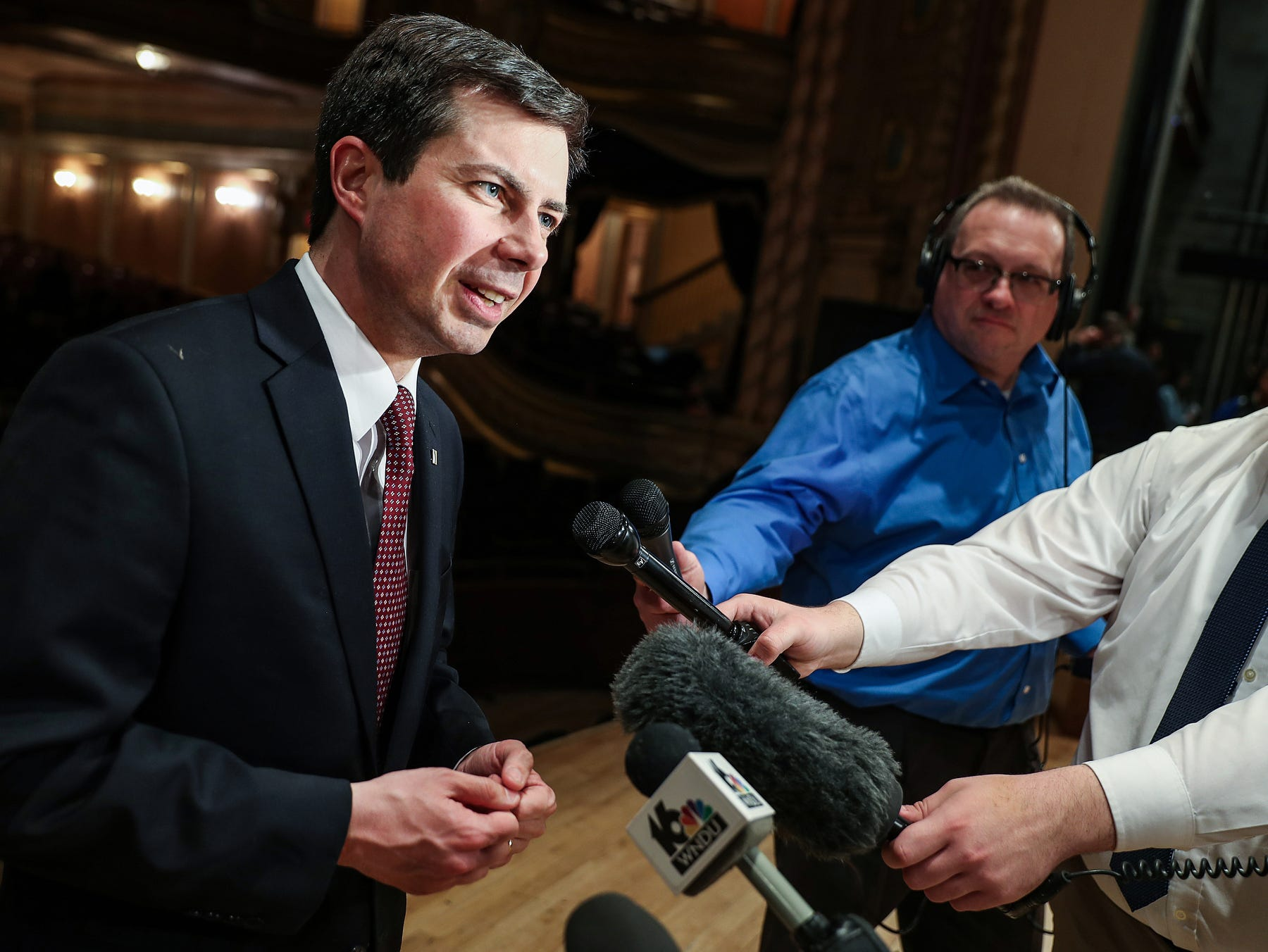 South Bend Mayor Pete Buttigieg speaks to members of the media after his final State of the City address in South Bend, Ind. on Tuesday, March 12, 2019. After serving 8 years as mayor of South Bend, Buttigieg, 37, announced that he intends to run for election in the 2020 Democratic presidential primary.