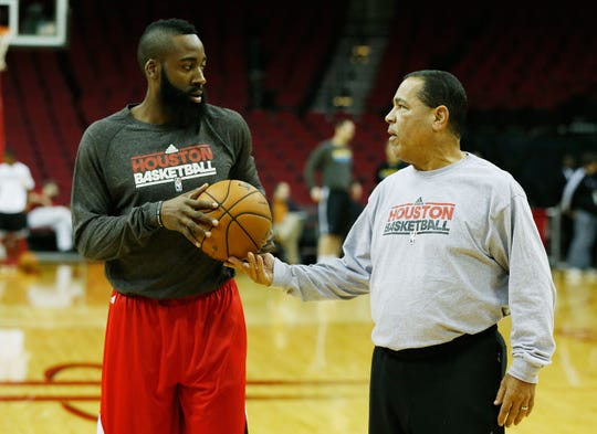 Rockets assistant coach Kelvin Sampson (R) chats with James Harden #13 prior to the start of the game between the New Orleans Hornets v Houston Rockets at Toyota Center on January 2, 2013 in Houston, Texas.