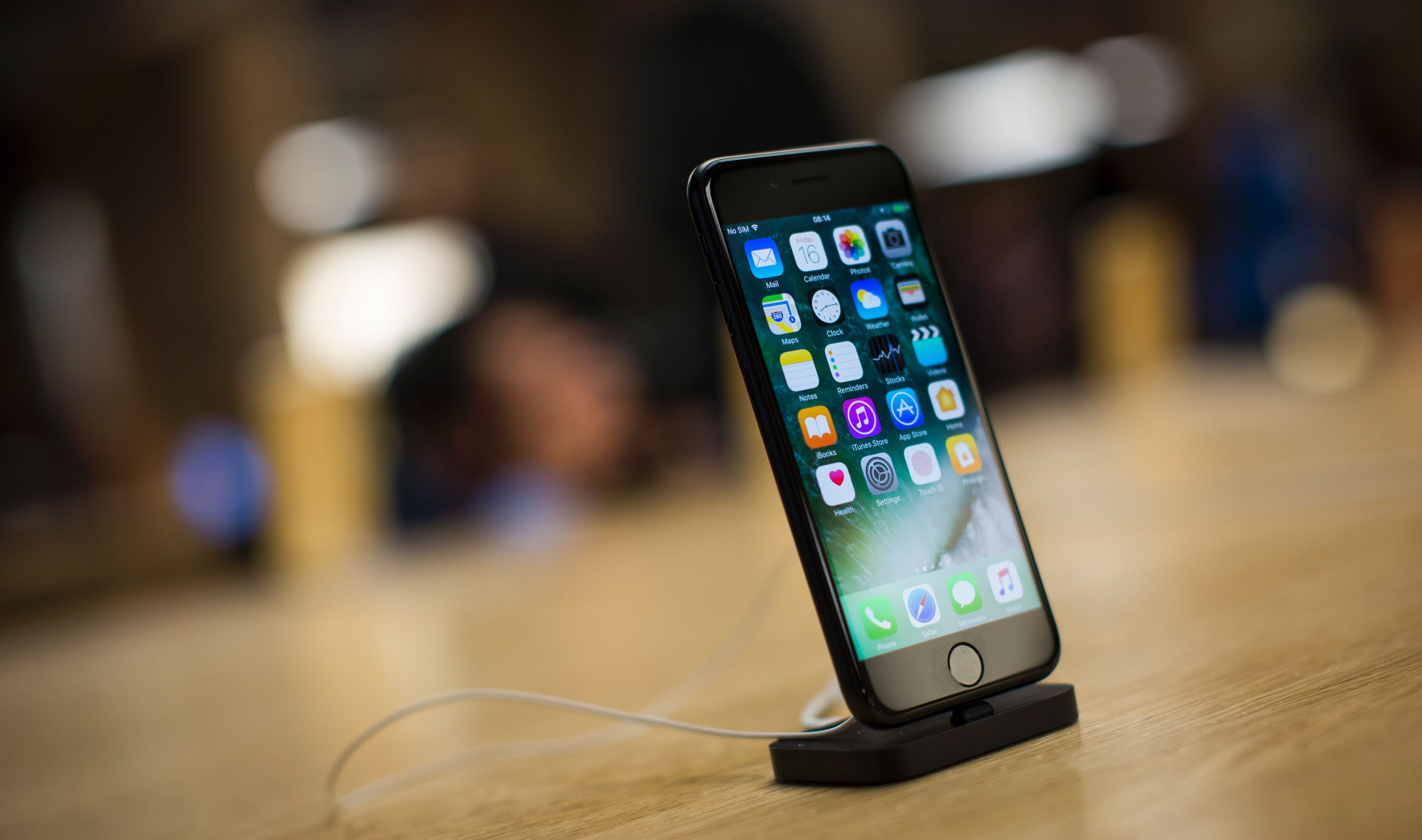 An iPhone 7 smartphone is on display in London on Sept. 16, 2016.
