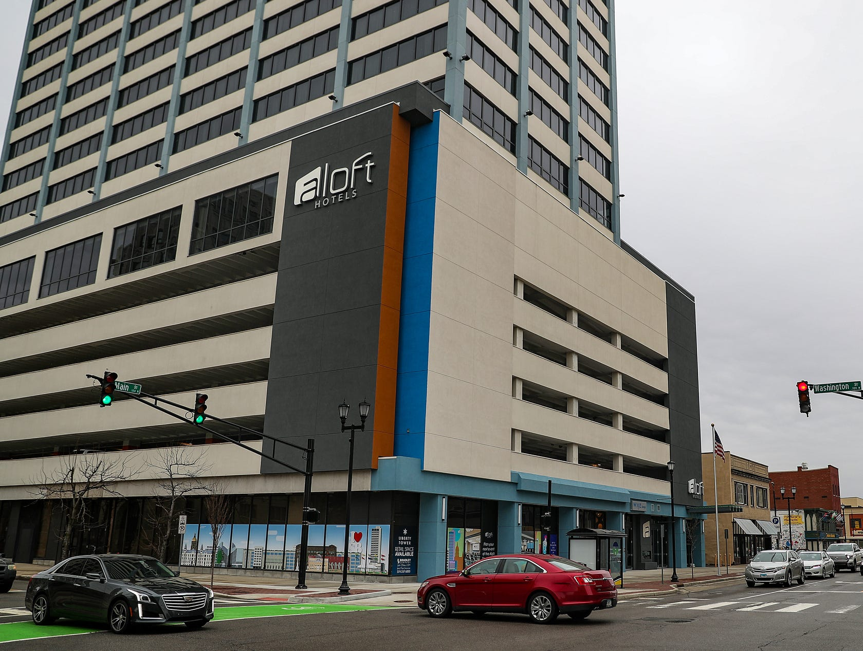 Liberty Tower, a 25-story building formerly known as Chase Tower, now houses Marriott-brand Aloft hotel and soon-to-open first floor retail and upper floor condos, seen in South Bend, Ind. on Wednesday, March 13, 2019.