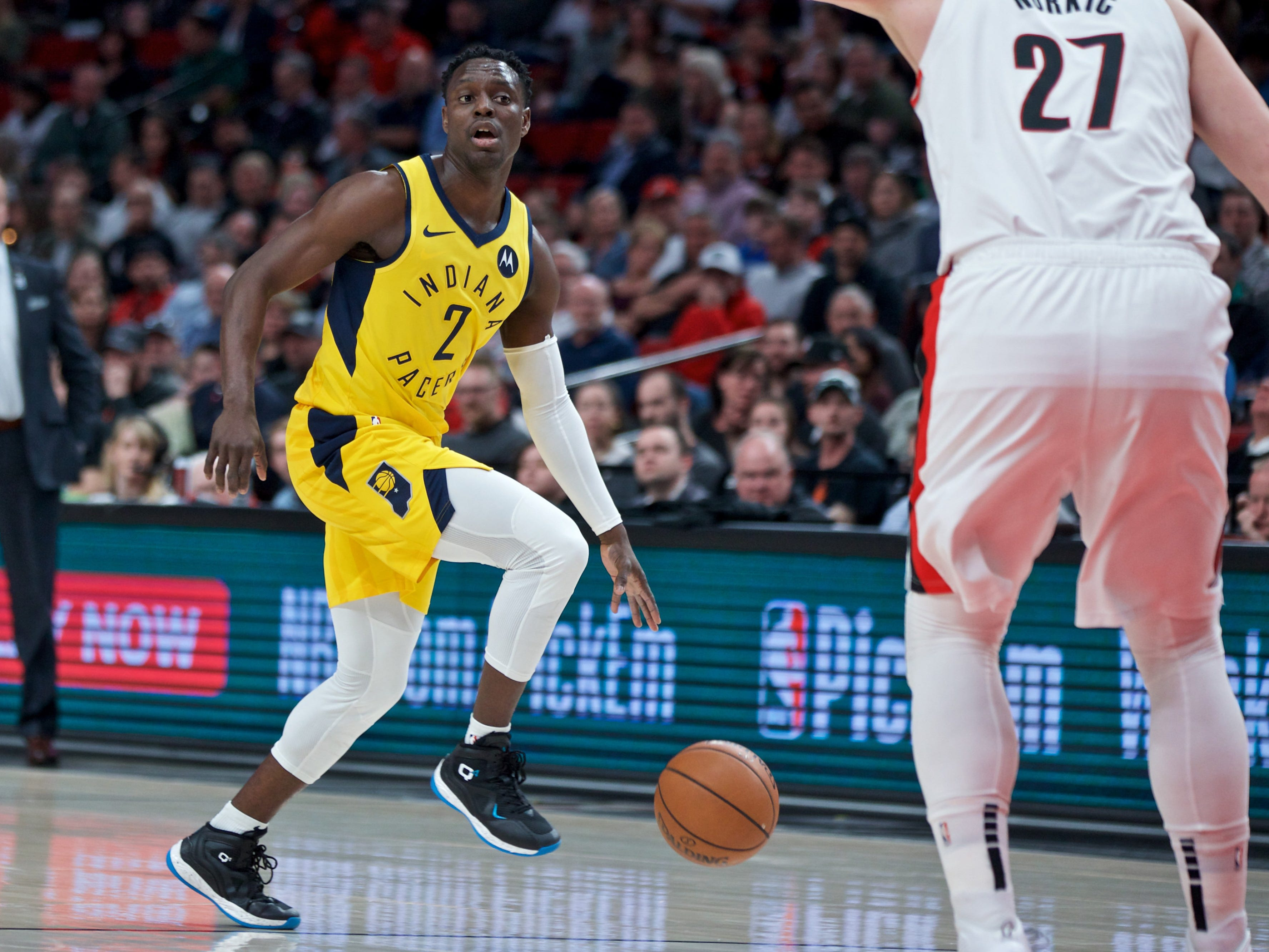 March 18, 2019; Portland, OR, USA; Indiana Pacers guard Darren Collison (2) dribbles the ball against the Portland Trail Blazers during the first quarter at the Moda Center.