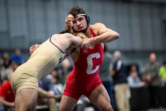 Cornell sophomore Yianni Diakomihalis grapples with an opponent during a match at the Friedman Wrestling Center earlier this season.