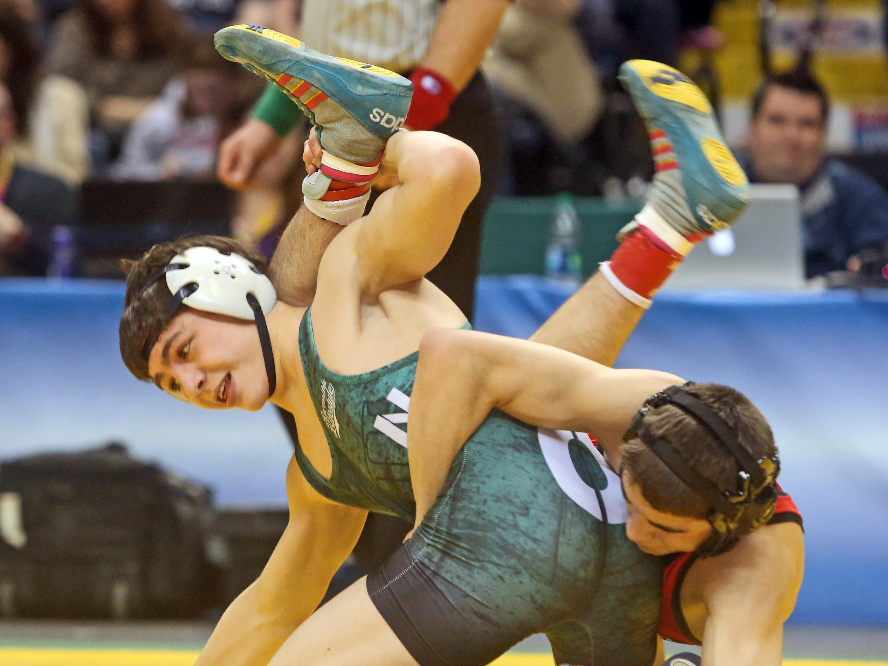 Yianni Diakomihalis of Hilton pinned Peter Pappas of Plainview to win the 120 pound final Saturday at the New York State High School wrestling championships.