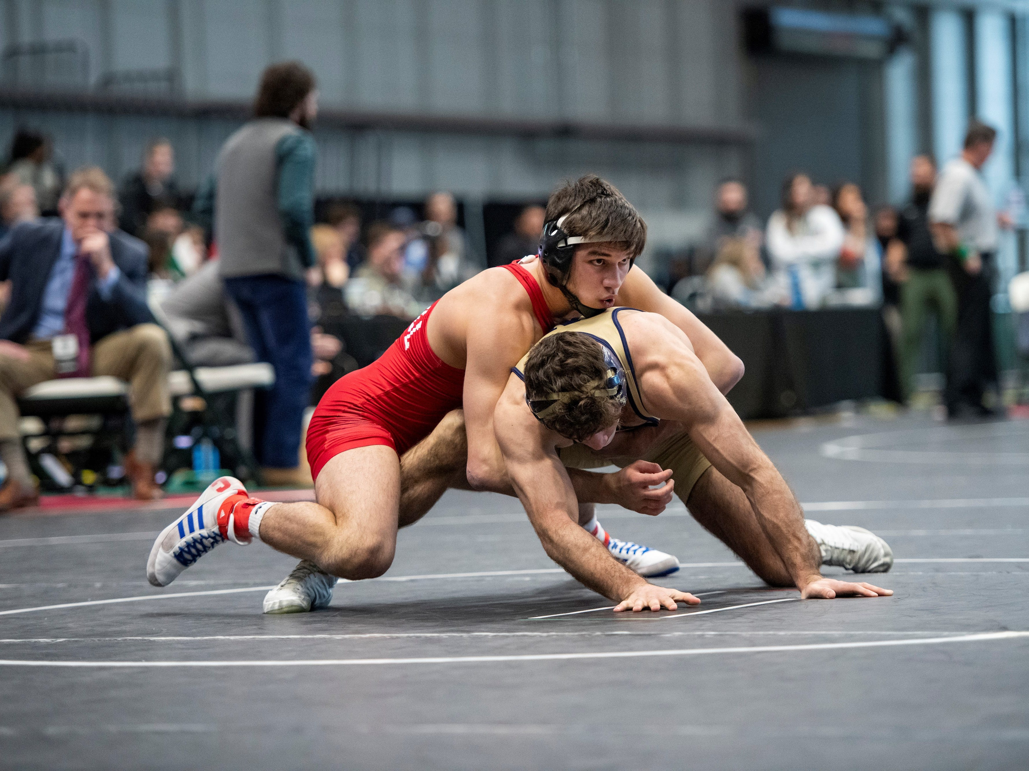 Cornell sophomore Yianni Diakomihalis gets the advantage on his opponent during a match at the Friedman Wrestling Center earlier this season.