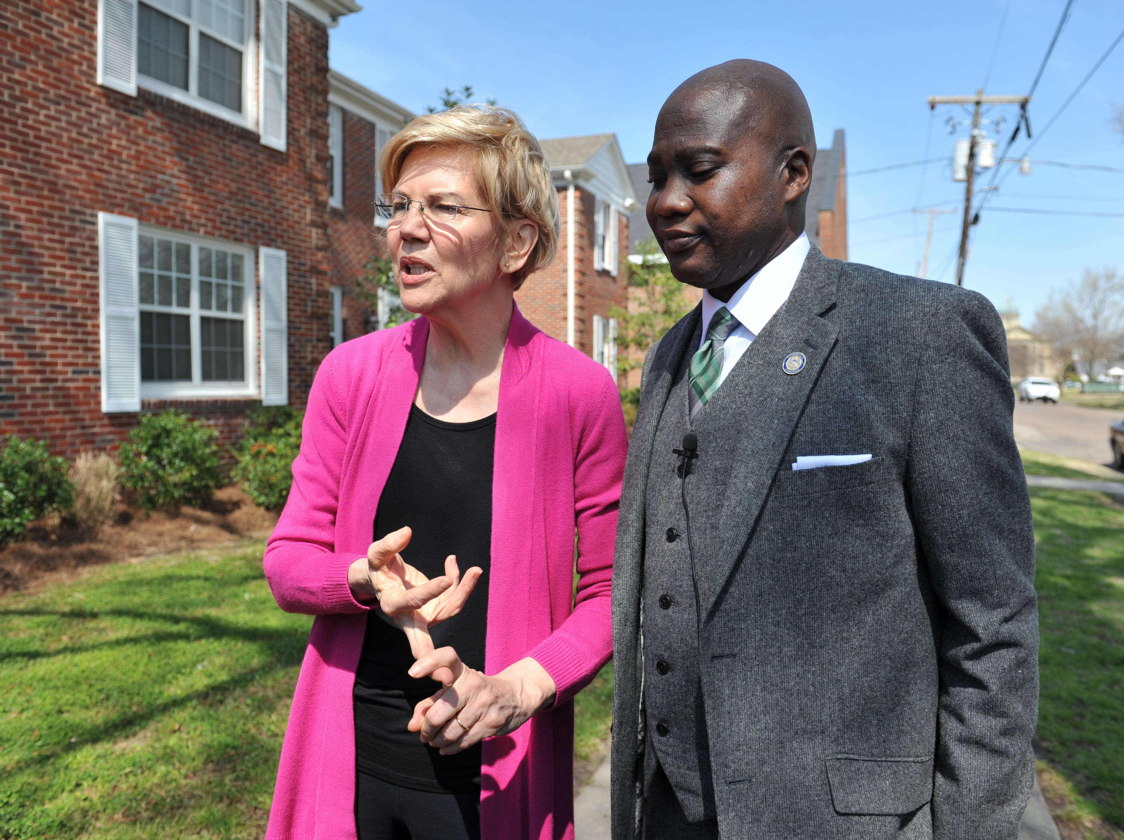 While addressing media Monday, March 18, 2019, presidential candidate Sen. Elizabeth Warren, D-Mass., with Greenville Mayor Erick Simmons, lists the things Greenville has done right in addressing the affordable housing shortage in the city.