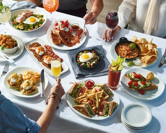 Brunch — appetizers and entree from Bonefish Grill.