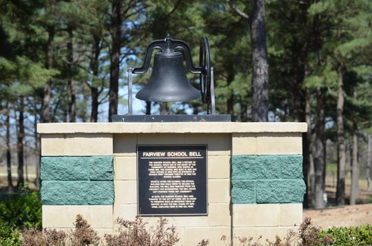 The bell from Fairview school featured at Pine Hill Park on March 17, 2019 in Three Way, Tenn.